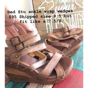 Bed Sty ankle wrap leather wedges.